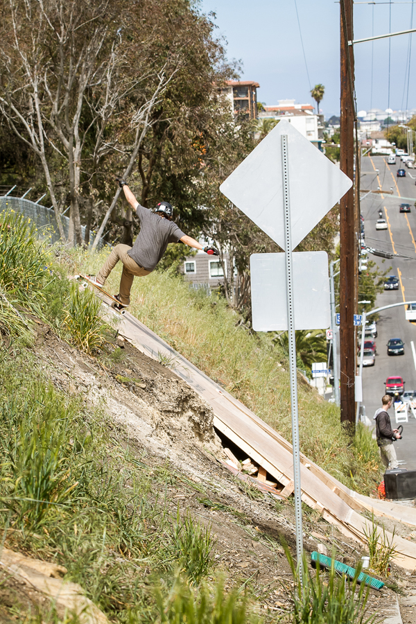 James going switch over the Downhill Boomerang in  San Pedro. Photo: David Marano.