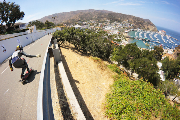 Pat Schep, living the downhill dream on Catalina Island. Photo: Bandy.