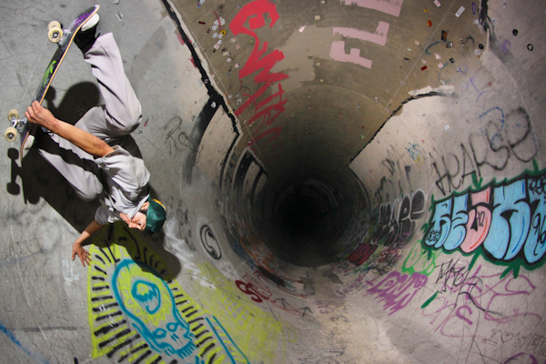 Unmodern Industries rider, Steven Palcios, Full-pipe Miller-flipper. Photo: Bandy.