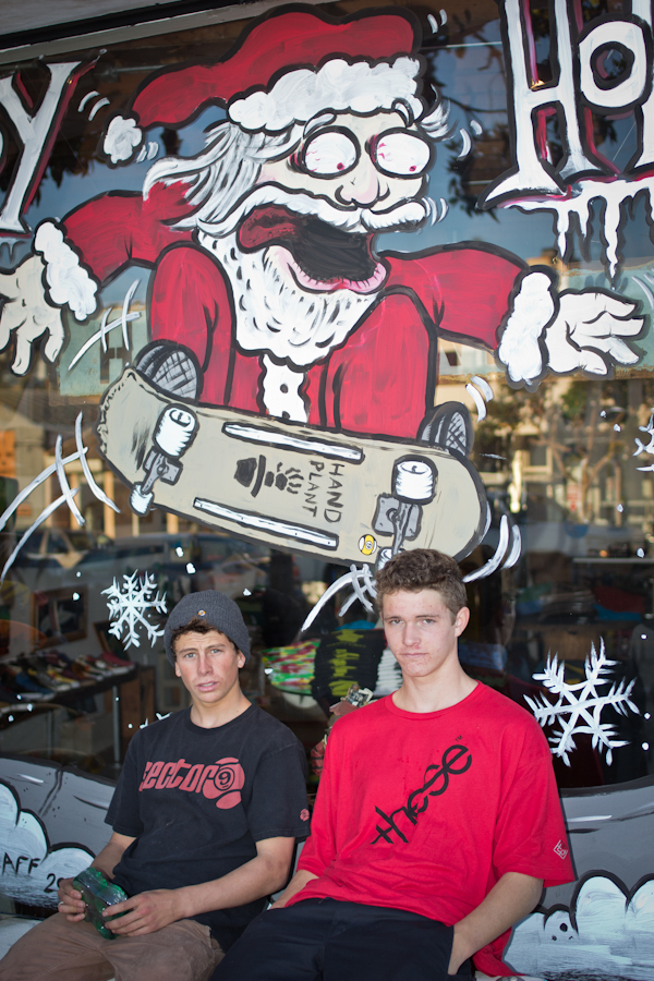 Chance and Byron chilling at the Handplant shop. Photo: Bandy.