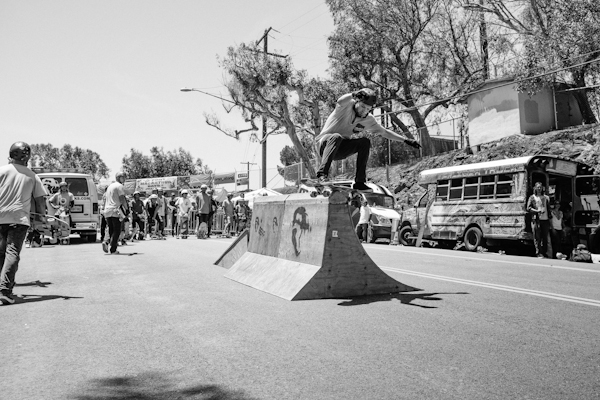Boardslide up, over, and across the curbed BEARier. Photo: Jake Fast.