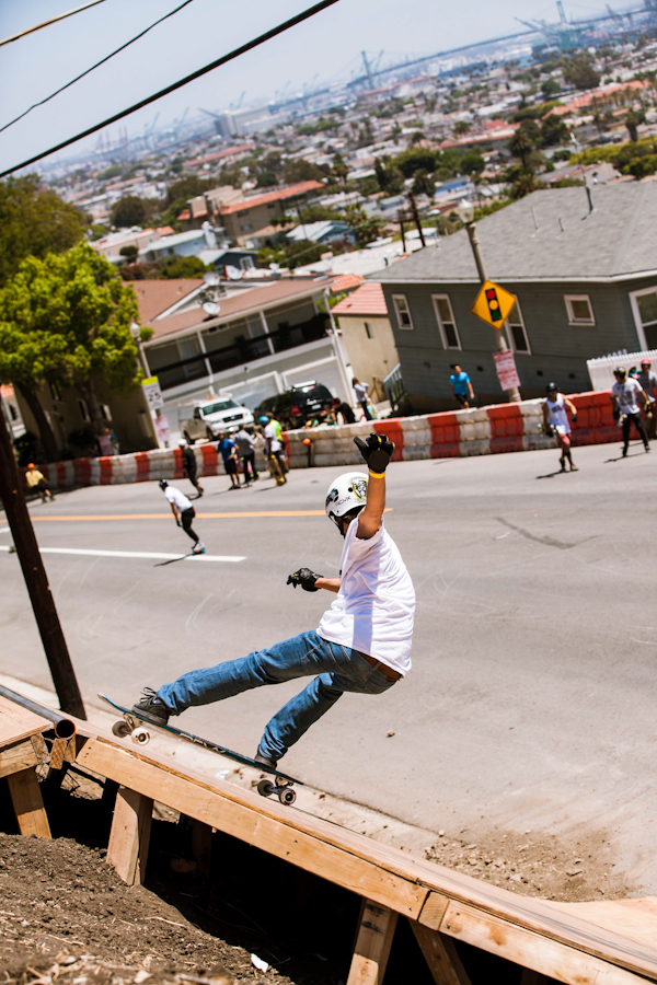Louis Pilloni getting pitted 17 feet above Gaffey St. Photo: David Marano.