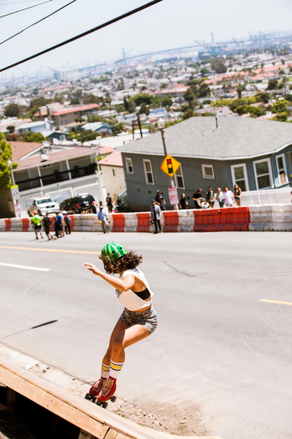 Jen doing her roller lady thang on the Downhill Boomerrang. Photo: David Marano.