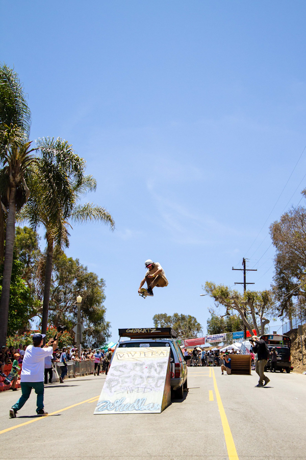 Jesus falling from the sky over the Gnar Car. Photo: David Marano.