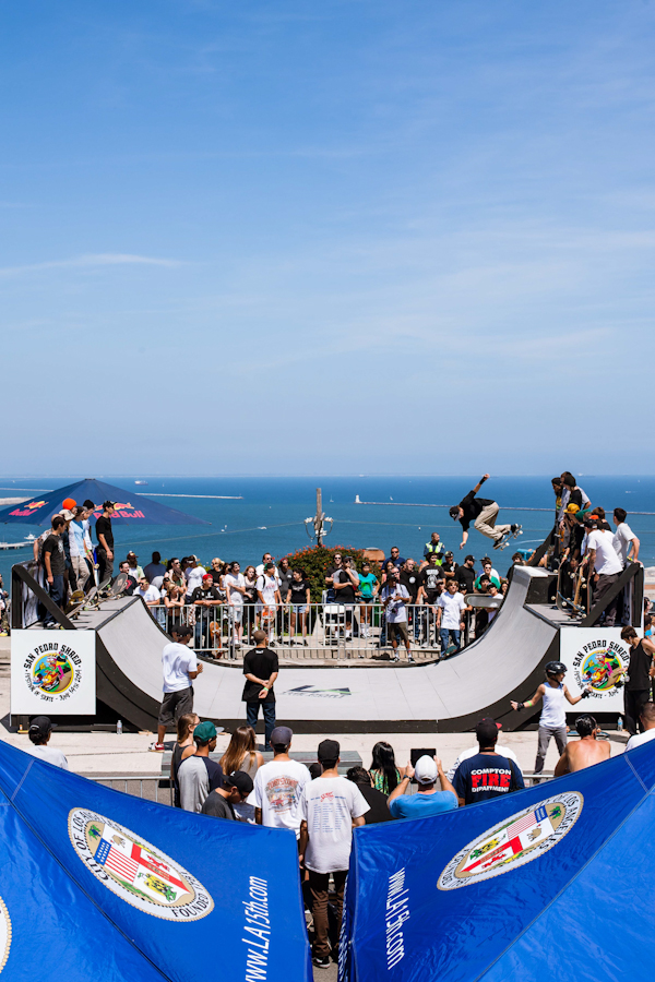 A heavy ramp session overlooking the Port of LA. Photo: Marano.
