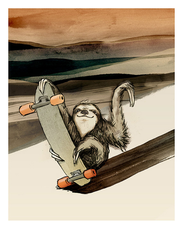 """Skateboarding Sloth"" part by Catherine Lazar Odell."