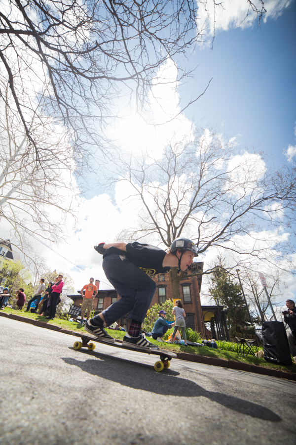 Ithaca's architecture and history drew in spectators to the jam to watch skaters blast the hill. Photo: Richmond