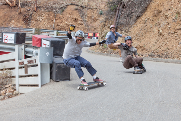 Santa Gnarbara crew getting the footy. Photo: Ruano