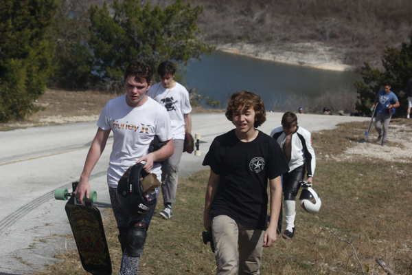 4 groms walking up - (left to right) Shean Racine, Caleb Zealous, Jake Patterson, Ethan Campbell-2